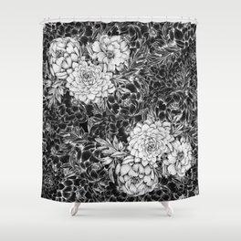 Dahlias & Peonies Black Shower Curtain