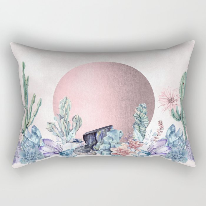 Desert Sun + Gemstones Rose Gold Pink Watercolor Rectangular Pillow