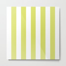 Bored accent green -  solid color - white vertical lines pattern Metal Print