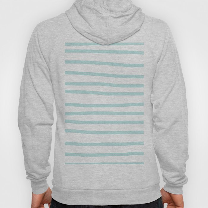 Simply Drawn Stripes Succulent Blue on White Hoody