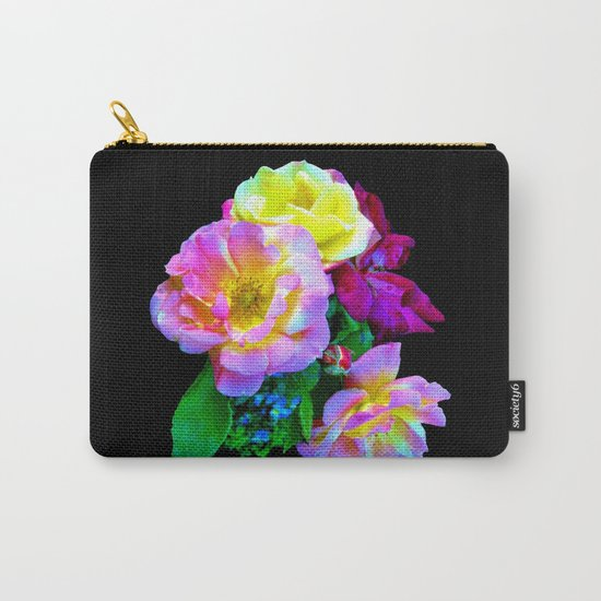 Rosa Yellow Roses on Black Carry-All Pouch