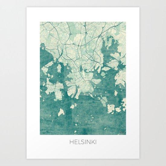 Helsinki Map Blue Vintage Art Print