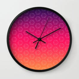 D20 Roleplaying Die Icosahedron Colorful Pattern Wall Clock