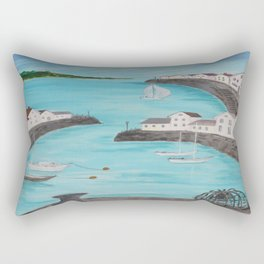 Harbour & sea view with distant hills Rectangular Pillow