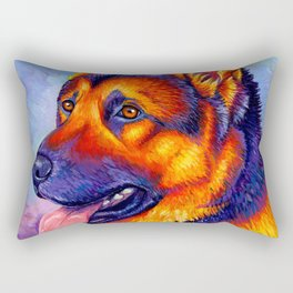 Colorful German Shepherd Dog Rectangular Pillow