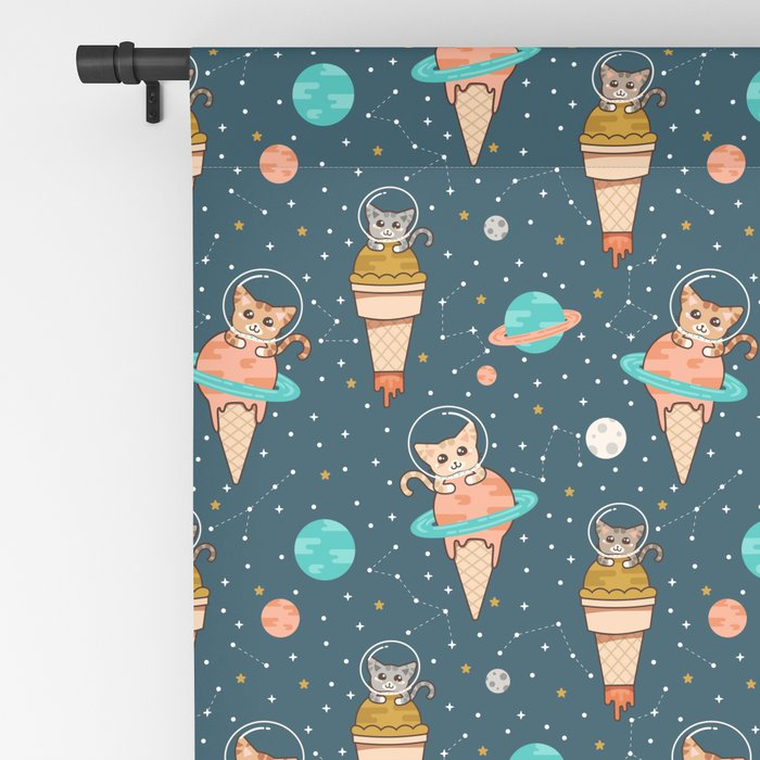 Cats Floating on Ice Cream in Space Blackout Curtain