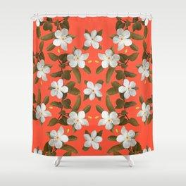 White Angel Flowers in Tangerine Shower Curtain