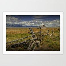 Wood Fence with Farm on Mormon Row in the Grand Teton National Park Art Print