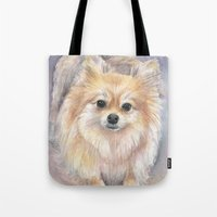 pomeranian Tote Bags featuring Pomeranian Watercolor Pom Painting by Olechka