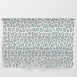Leopard Animal Print Aqua Blue Gray Grey Spots Wall Hanging