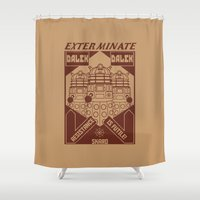 dalek Shower Curtains featuring Dalek propaganda by Buby87