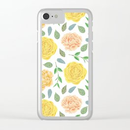Hand painted yellow coral watercolor modern floral Clear iPhone Case