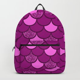 Pink mermaid scale with  glitter effect Backpack