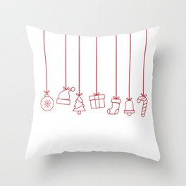 Christmas Flat Objects Throw Pillow