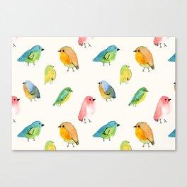 Watercolor Birds Pattern Canvas Print