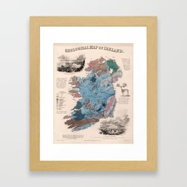 Vintage Geological Map of Ireland (1850) Framed Art Print