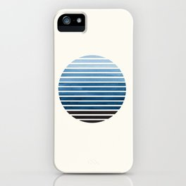 Green Blue Mid Century Modern Minimalist Scandinavian Colorful Stripes Geometric Pattern Round Circl iPhone Case