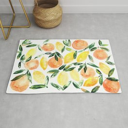 Sicilian orchard: lemons and oranges in watercolor, summer citrus Rug
