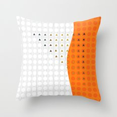 Orange and White Wavy Geometric Dot and Triangle Throw Pillow