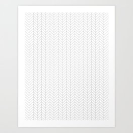 Herringbone_Small Scale_Black + White Art Print
