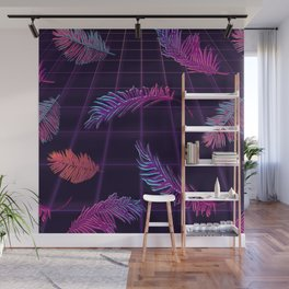 Synthwave Palm Leaves Wall Mural