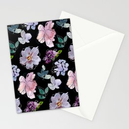 Purple Florals  Stationery Cards
