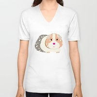 guinea pig V-neck T-shirts featuring Guinea Pig Patterned Guinea Pig by Upcyclepatch