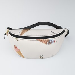 Cute Ice cream watercolor set pattern with plants decorations Fanny Pack