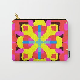 Key Lime Geometric Fuzzy Floral Carry-All Pouch