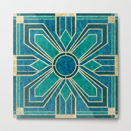 Art Deco Flowers in Teal and Faux Gold Metal Print