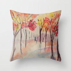 Autumn Trees Watercolour Throw Pillow