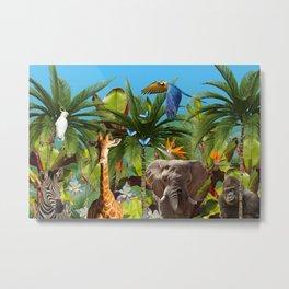 Wild Animals Jungle - Giraffe - Zebra - Elephant - Gorilla - Birds Metal Print