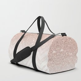 Modern faux rose gold glitter ombre modern chevron stitches pattern Duffle Bag