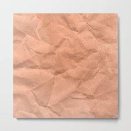 Kraft paper. crumpled paper Metal Print