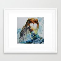 fairy Framed Art Prints featuring Fairy - Cat by oxana zaika