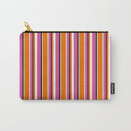 Fun Stripes pink orange Carry-All Pouch