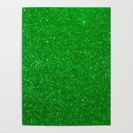 Emerald Green Shiny Metallic Glitter Poster