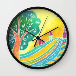 Rainbow Field Wall Clock