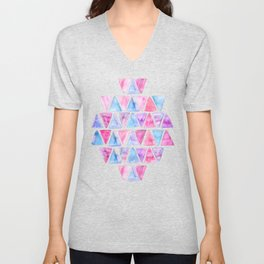 Bubble Gum Watercolor Triangles Unisex V-Neck