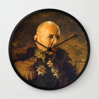 replaceface Wall Clocks featuring Bruce Willis - replaceface by replaceface