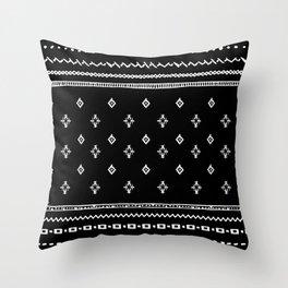 Rhombus & Lines White on Black Throw Pillow