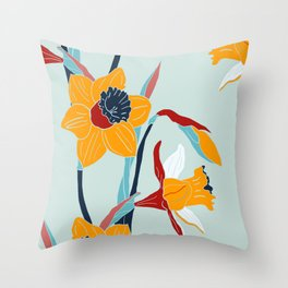 Mid Century spring flowers Throw Pillow