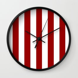 Crimson red - solid color - white vertical lines pattern Wall Clock
