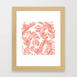 Tropical Hibiscus and Palm Leaves Dark Coral White Framed Art Print