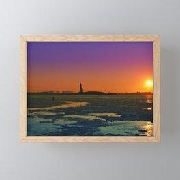 Statue of Liberty. Winter evening Framed Mini Art Print