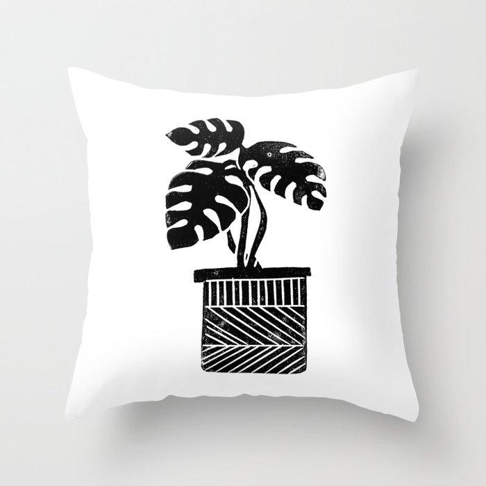 Monstera cheese plant house plant black and white minimal modern linocut art Deko-Kissen