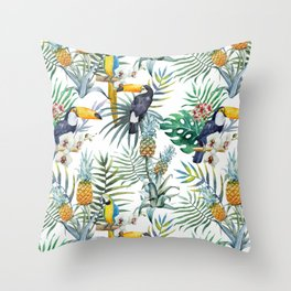 Tropical Pattern Toucans Parrots Pineapples Throw Pillow