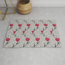 Art Nouveau Tulip Damask, Grey / Gray and Red Rug