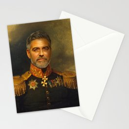 George Clooney - replaceface Stationery Cards
