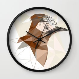 Brown Bird geometric art Wall Clock